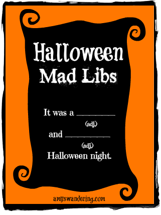 graphic relating to Halloween Mad Libs Printable named Halloween Ridiculous Libs - Amys Wandering