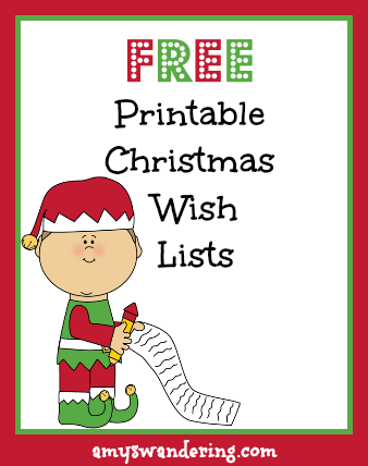 image regarding Free Printable Christmas Wish List referred to as Printable Xmas Desire Lists - Amys Wandering
