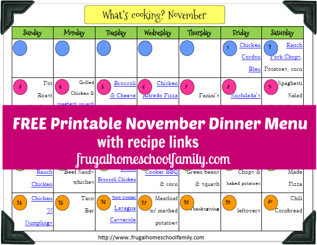 Frugal Homeschool family nov