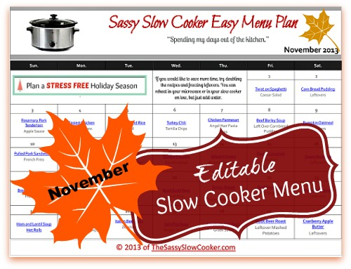 sassy slow cooker nov