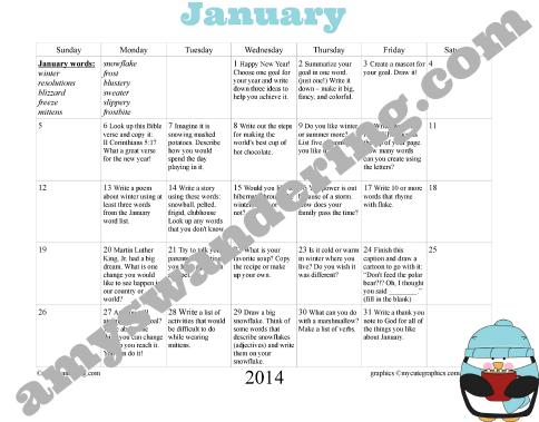 Jan 2014 Prompts freebie