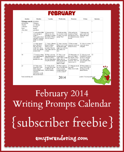 February 2014 Writing Primpts Calendar