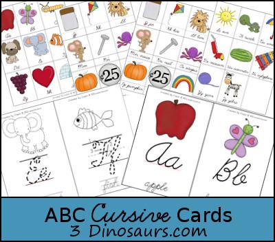 abc cursive cards