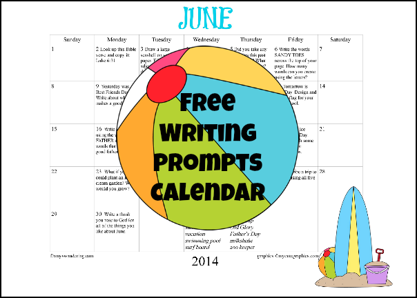 June Writing Prompts Calendar