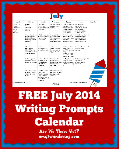 Free July 2014 Writing Prompts Calendar