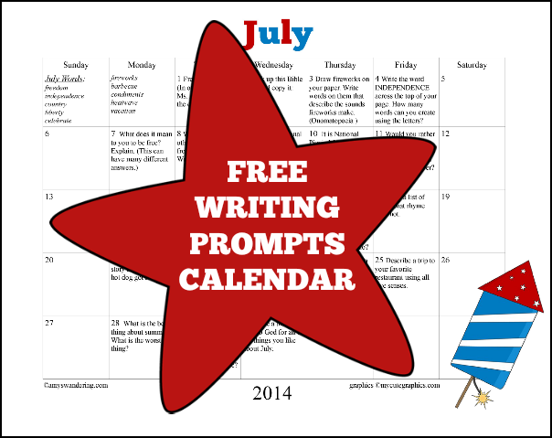 July Writing Prompts Calendar