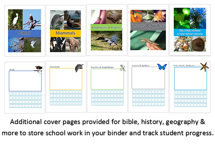 FREE Wildlife Binder Pages