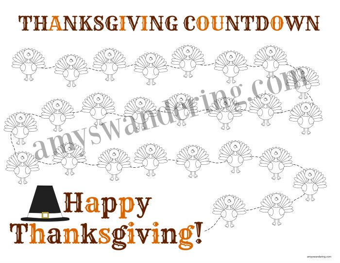Thanksgiving Countdown Printable