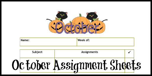 October Assignment Sheets