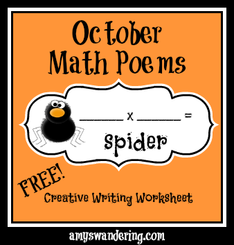 October Math Poem Worksheets