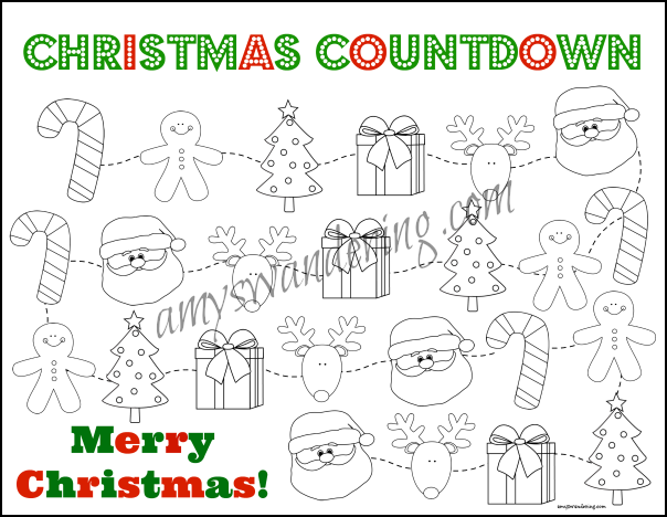 picture relating to Christmas Countdown Printable known as Nativity and Santa Xmas Countdown Printables - Amys