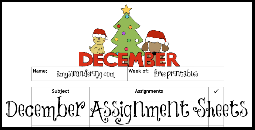 december-assignment-sheets