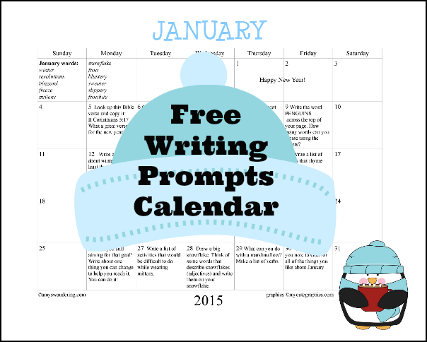 January 2015 Writing Prompts Calendar