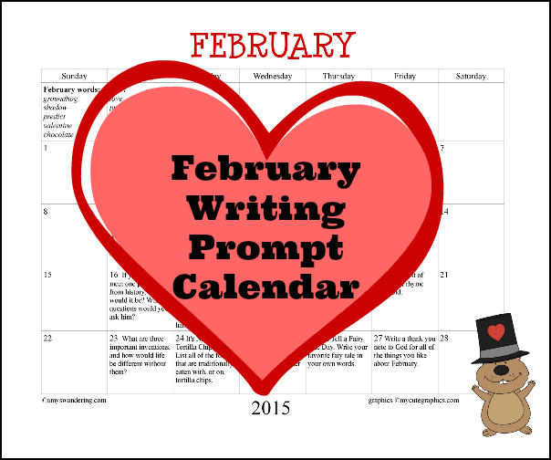 February Writing Prompt Calendar