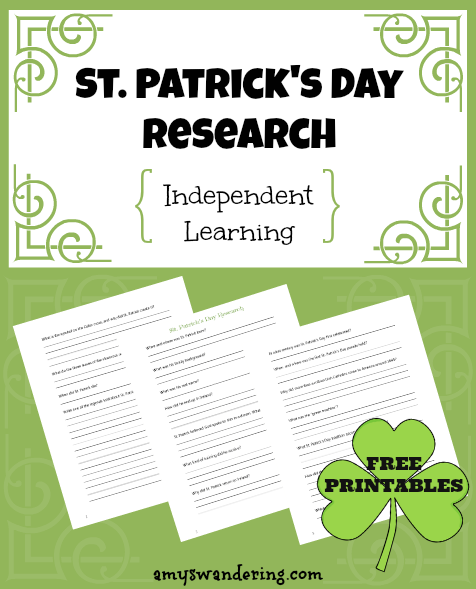 St Patrick's Day Research for Independent Learning