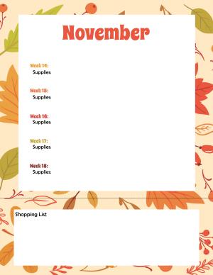 300 Blank Craft Planner November