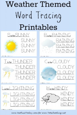 Weather Themed Word Tracing Printables