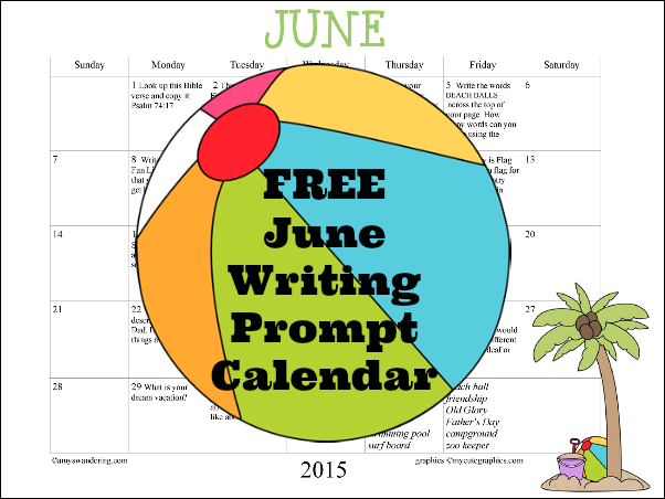 June 2015 Writing Prompts Calendar