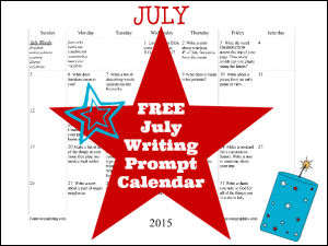 FREE July 2015 Writing Prompt Calendar