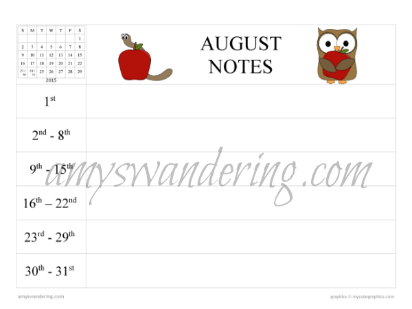 August Planning Notes