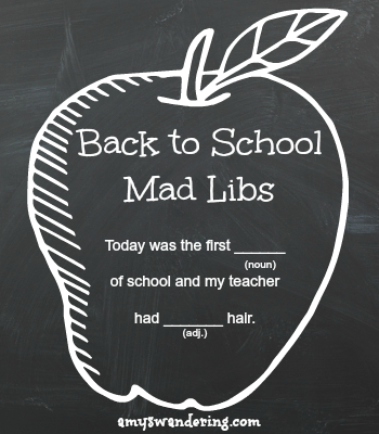 Back to School Mad Libs