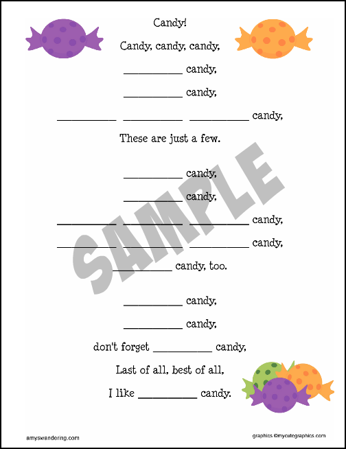 Candy Adjective Poem Sample