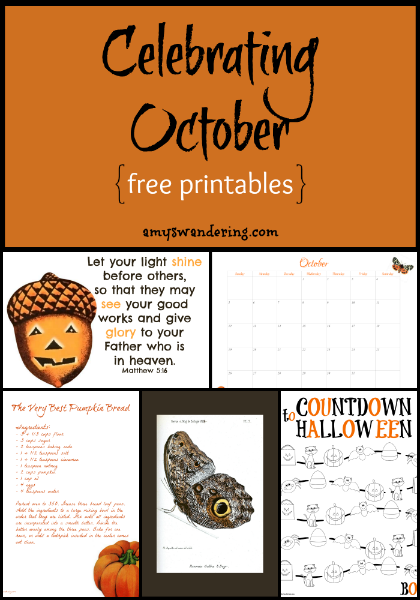 Celebrating October Printables