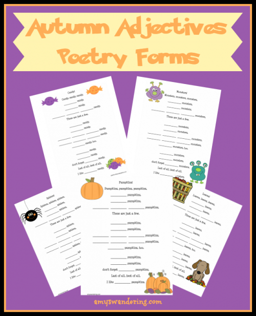 Free Autumn Adjectives Poem Printables