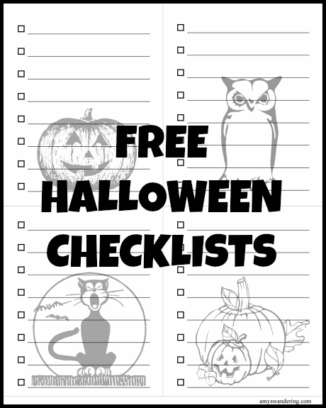 Free Halloween Checklists