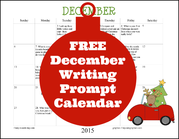 FREE december 2015 Writing Prompt Calendar