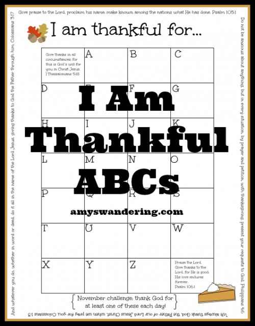 photograph relating to I Am Thankful for Printable referred to as I Am Grateful ABCs - Amys Wandering