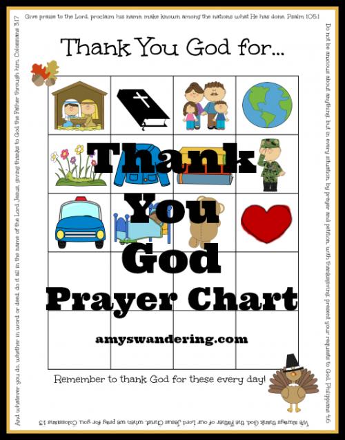 Thank You God Prayer Chart