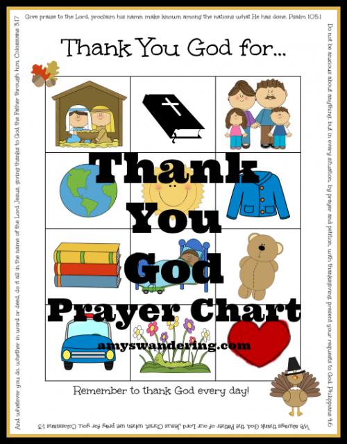 Thank You God Prayer Chart Preschool