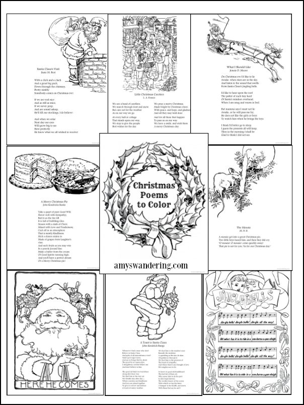 Vintage Christmas Poems to Color