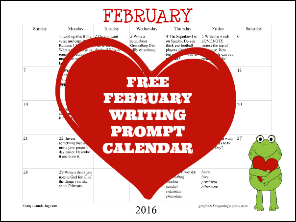 FREE February 2016 Writing Prompt Calendar