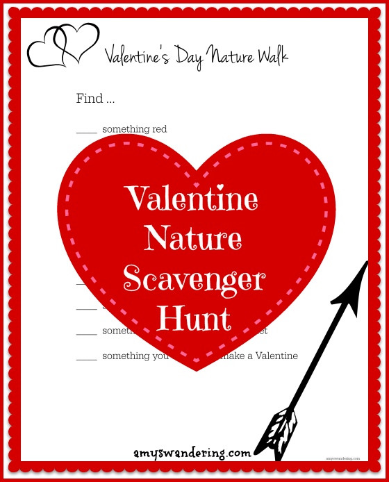 Valentine's Day Nature Walk Scavenger Hunt