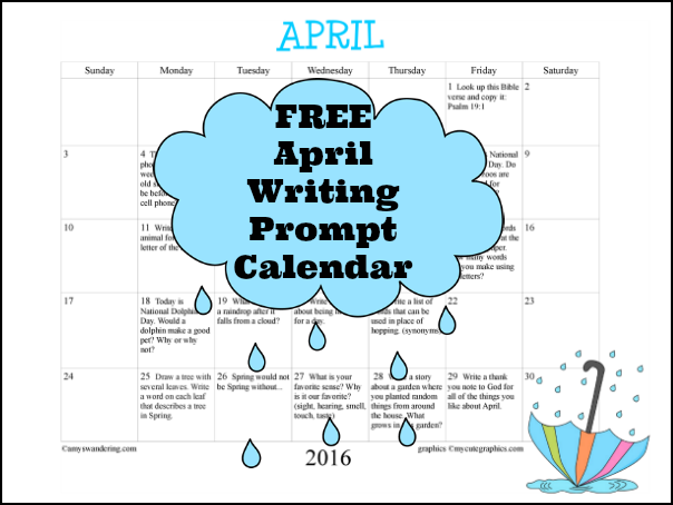 FREE April 2016 Writing Prompt Calendar