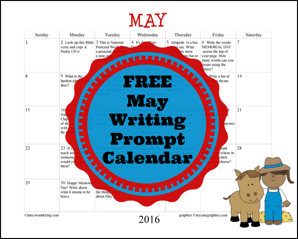 FREE May Writing Prompt Calendar