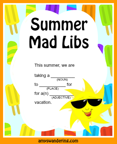 Soft image throughout summer mad libs printable