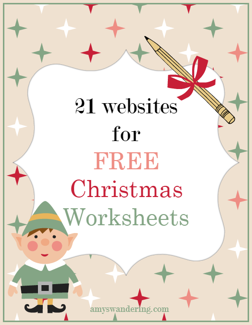 Free Christmas Worksheets Amys Wandering – Free Christmas Worksheets