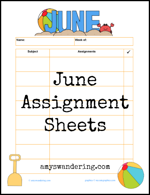 Free June Assignment Sheets