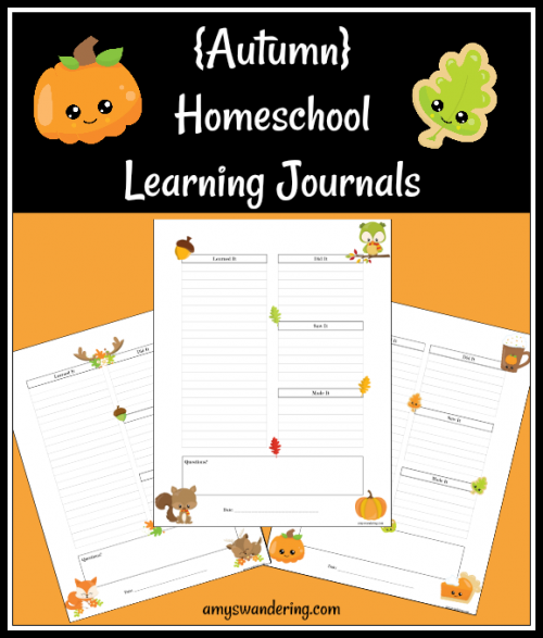 Autumn Homeschool Learning Journals