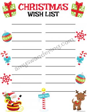 Santa's Sleigh Christmas Wish List
