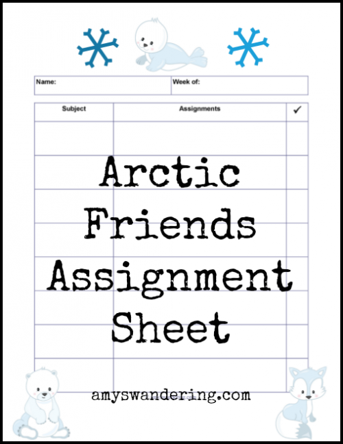 Arctic Friends Assignment Sheet