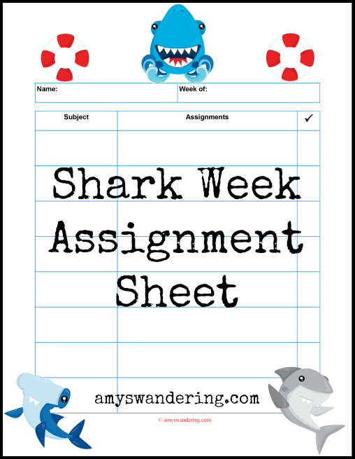 Shark Week Assignment Sheet